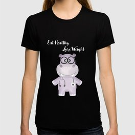 Eat Healthy Lose Weight - Advice from Hippo the Doctor T-shirt