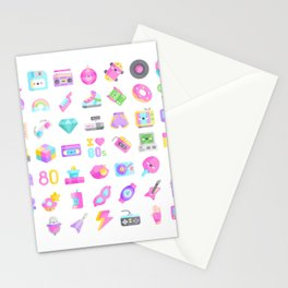 CUTE '80S PATTERN (RETRO THROWBACK EIGHTIES) Stationery Cards
