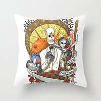 grim fandango Throw Pillows featuring Fandango nouveaux by Pascale Lamoureux-Miron