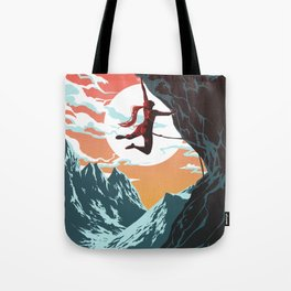 Rock Climbing Girl Vector Art Tote Bag
