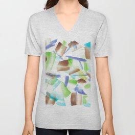 180719 Koh-I-Noor Watercolour Abstract 8| Watercolor Brush Strokes Unisex V-Neck