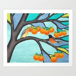 B. orioles in the stained glass tree Art Print