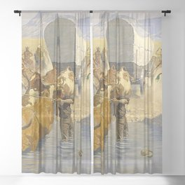 """Frederic Remington Western Art """"The Emigration"""" Sheer Curtain"""