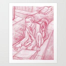 Red Monkey Man Art Print