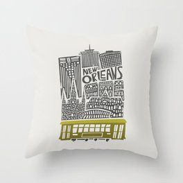 New Orleans City Cityscape Throw Pillow
