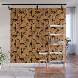 Animal kingdom. Black silhouettes of wild animals. African giraffes, leopards, cheetahs. snakes, exotic tropical birds. Tribal primitive ethnic nature chocolate brown grunge distressed pattern. Wall Mural