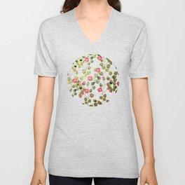"""Spring pink flowers and leaves"" Unisex V-Neck"