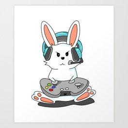Gaming Bunny Gamer Rabit Headset Gamepad Gift Art Print