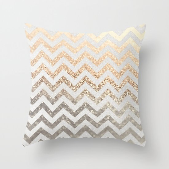 GOLD & SILVER CHEVRON Throw Pillow