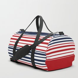 Striped blue-red Duffle Bag