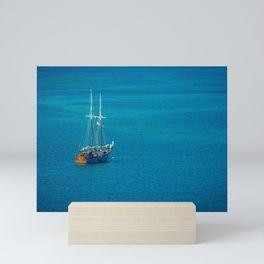 Wooden Sailboat Sailing Ship Anchored in Blue Tropical Water off Grand Cayman Mini Art Print