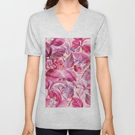 Pink and Purple Leaves in Watercolor Unisex V-Neck