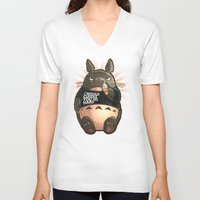 cuddle V-neck T-shirts featuring CUDDLE MONSTER by Tim Shumate