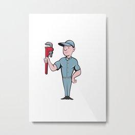 Handyman Monkey Wrench Standing Cartoon Metal Print