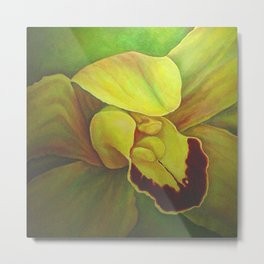 Green Orchid Metal Print