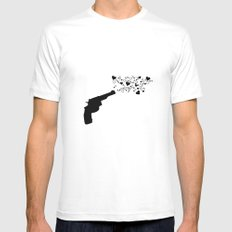 Shot in the heart White MEDIUM Mens Fitted Tee
