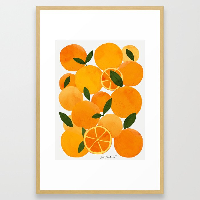 Mediterranean Oranges Still Life Framed Art Print by El Buen Limon - Conservation Natural - LARGE (Gallery)-26x38