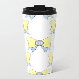 sky blue and daisy yellow bows 1 Travel Mug