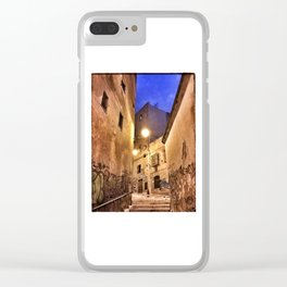 Narrow road at night with graffiti Clear iPhone Case