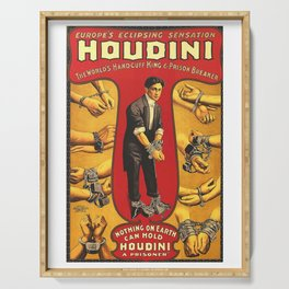 Houdini, vintage theater poster, color Serving Tray
