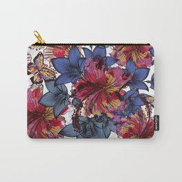 Tropical pattern with hibiscus flowers. Hawaii style watercolor Carry-All Pouch