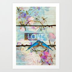 Love Birds on wood Art Print