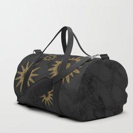 Gold Flower Mandalas over Black Marble Duffle Bag