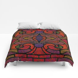Art Nouveau Glowing Stained Glass Window Design Comforters