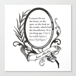 """Jane Austen """"In the Middle"""" Canvas Print"""