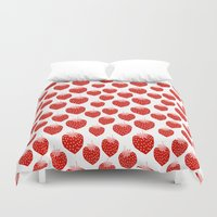 vegetarian Duvet Covers featuring Strawberries - trendy fresh tropical fruit vegan vegetarian juice juicing cleanse by CharlotteWinter