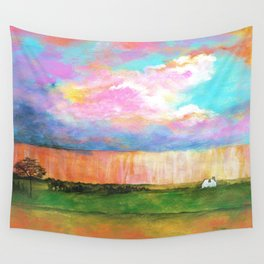April Showers, Abstract Landscape Wall Tapestry