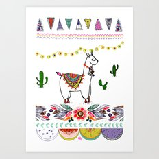 Llama Illustration Art Print