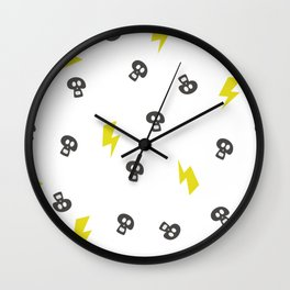 Pattern skull and thunderbolt. Hand drawn design texture on white background Wall Clock