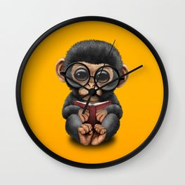 Cute Baby Chimp Reading a Book on Yellow Wall Clock