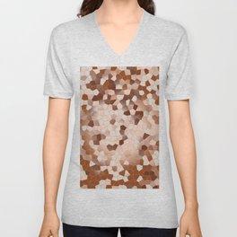 brown beige abstraction. Digital art. mosaic patterns Unisex V-Neck