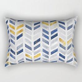 Herringbone chevron pattern.Indigo faux gold acrylic canvas Rectangular Pillow