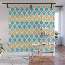 Geometric pattern with striped rhombus in blue and yellow palette Wall Mural