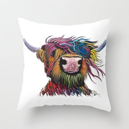 Scottish Highland Cow ' ROCK A BILLY ' by Shirley MacArthur Throw Pillow