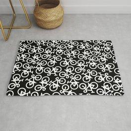 Black and White Bikes Pattern Rug