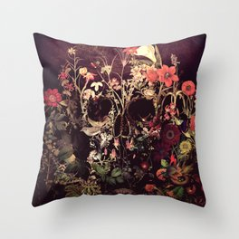 Bloom Skull Throw Pillow