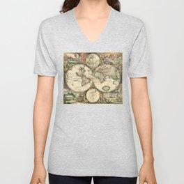 Old map of world (both hemispheres) Unisex V-Neck
