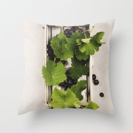 Fresh grape in wooden box. Top view, beton background Throw Pillow