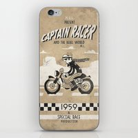 cafe racer iPhone & iPod Skins featuring CAPTIAN RACER by Morselli Mattia