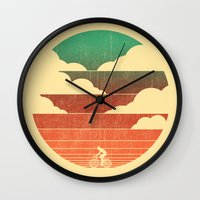 cycling Wall Clocks featuring Go West (cycling edition) by Picomodi