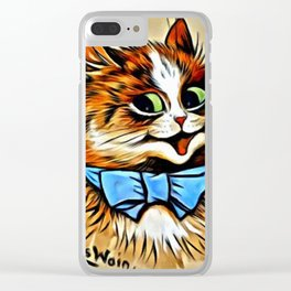 "Louis Wain's Cats ""Tabby with Blue Bow"" Clear iPhone Case"