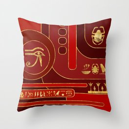 Egyptian Geometric Art Deco Red and Gold Throw Pillow