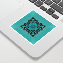 Turquoise Ornate Abstract Design Sticker