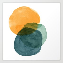 Watercolor Circles in Autumn Shades of Mustard and Teal Art Print