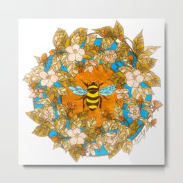Bumblebee In Wild Rose Wreath Metal Print