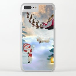 Christmas, snowman with Santa Claus Clear iPhone Case